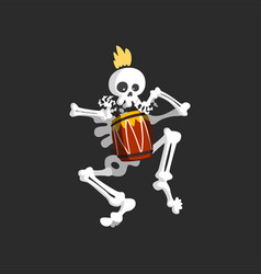 Creepy skeleton character playing drum vector