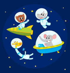 Cute animal astronauts spacemen - elephant vector