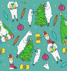 Cute hand drawn seamless pattern with lama vector