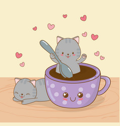 Cute little cats with coffee cup kawaii characters vector