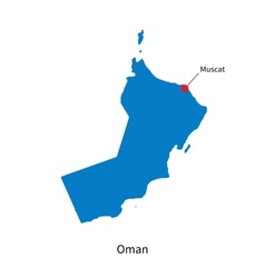Detailed map of Oman and capital city Muscat vector