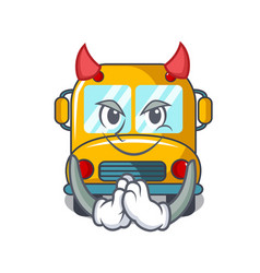 Devil school bus mascot cartoon vector