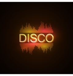 Disco neon sign with digital music equalizer vector