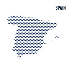 dotted map of spain isolated on white background vector image