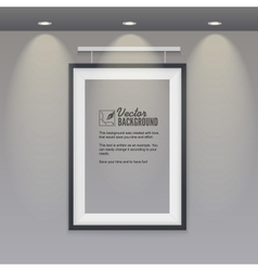 Empty frame to the wall with lights vector