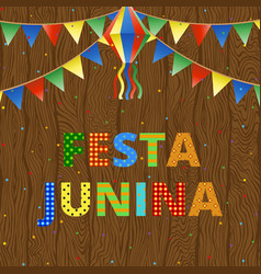 festa junina on wood vector image