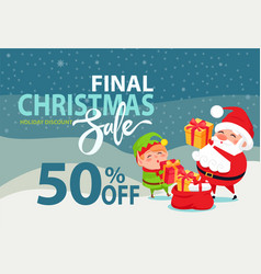 final christmas sale holiday discount 50 poster vector image