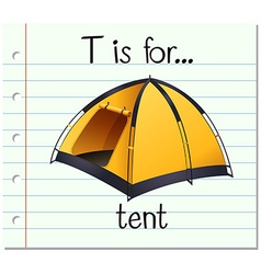 Flashcard letter T is for tent vector