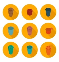 flat icons set isometric color plastic Cup vector image
