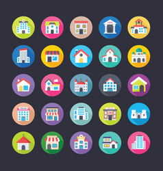 flat icons set of buildings vector image