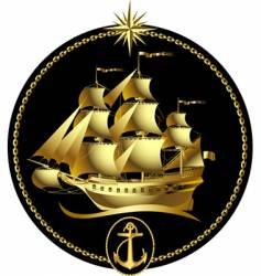 Gold sailing ship vector