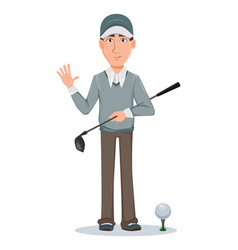 golf player handsome golfer cartoon character vector image