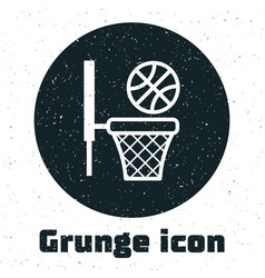 Grunge basketball ball and basket icon isolated on vector