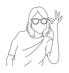half portrait woman holding glasses vector image