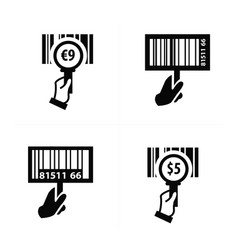 hand and zoom barcode icon vector image
