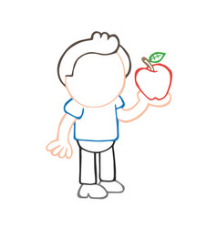 hand-drawn cartoon of man standing holding apple vector image