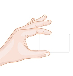 hand holding a card blank vector image