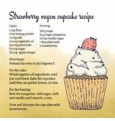 Hand-made vegan cupcake recipe card template with vector