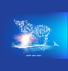 happy new year 2019 card with golden pig and vector image