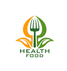 Healthy food icon with leaf vegetable and fork vector