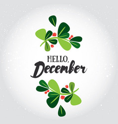 Hello december greeting card vector