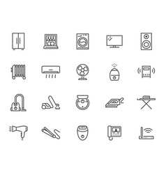 Household appliance line icon set washing machine vector