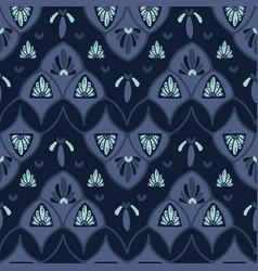 indigo blue dye stylized floral pattern seamless vector image