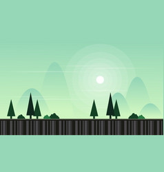 Landscape with spruce game background vector