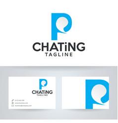 Letter p chatting logo design vector