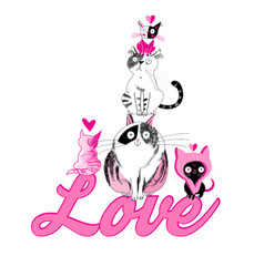 lovers funny graphics cats vector image