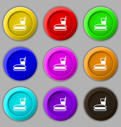 lunch box icon sign symbol on nine round colourful vector image