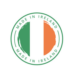 made in ireland round label vector image