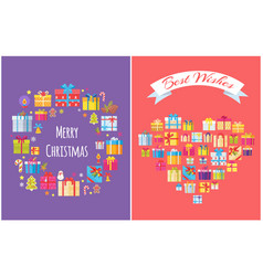 merry christmas presents set vector image