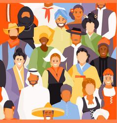 Nationalities people seamless pattern vector