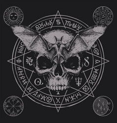 Occult hand-drawn banner with bat and human skull vector