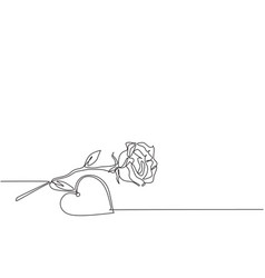 one continuous line drawing fresh romantic vector image