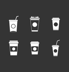 plastic cup icon set grey vector image
