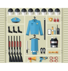 Police uniform and set protection staff equipment vector