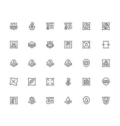 Properties fabrics and clothes icon set in vector