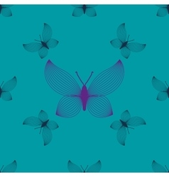 Purple and blue butterflies seamless pattern vector image