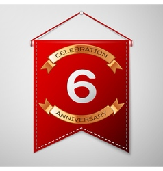 Red pennant with inscription Six Years Anniversary vector