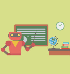Robot teacher standing with pointer in classroom vector