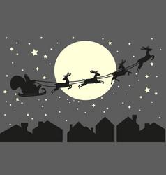 Santa claus riding in a sleigh vector