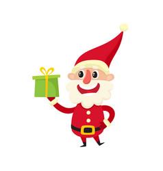 santa claus with gift cartoon vector image