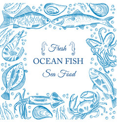 Sea fish menu vector