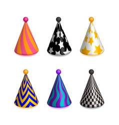 set of bright colorful party hat caps vector image