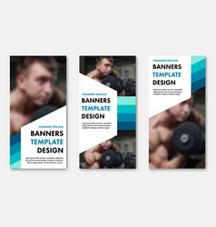 set of web banners with color elements and white vector image
