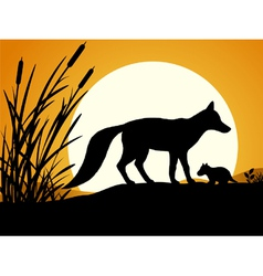 Silhouette of the fox vector image vector image