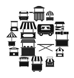 street food truck icons set simple style vector image