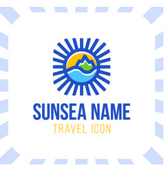 summer travel vacation logo concept in circle vector image